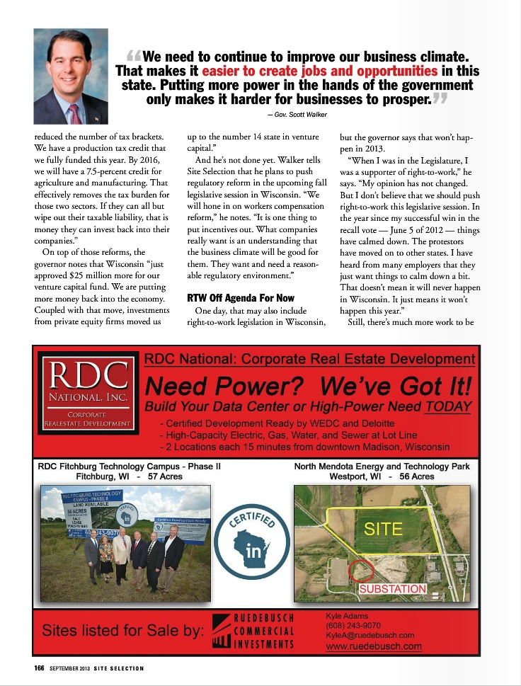 Wisconsin Article Site Selection Magazine September 2013